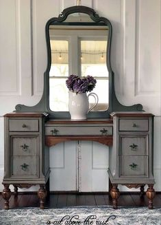 Stunning vanity in GF Driftwood Milk Paint and Van Dyke Brown Glaze Effects by A Cut Above The Rust.