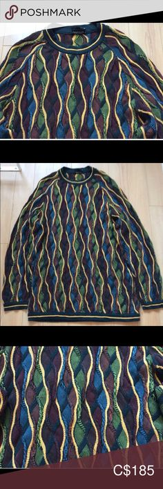 Mercerised Cotton Men's Size - Tagged In nice condition with no defects. Measurements: Pit to Pit Length COOGI Sweaters Crewneck Biggie Smalls, Outdoor Blanket, Men Sweater, Man Shop, Nice, Sweaters, Cotton, Vintage, Things To Sell