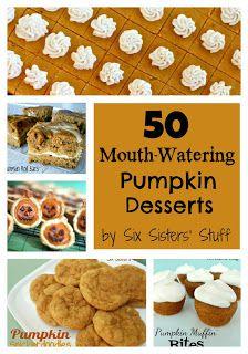 50 Mouth-Watering Pumpkin Desserts from sixsistersstuff.com #pumpkin #fall #dessert
