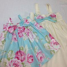 Blue Floral big bow dressgirls bow dressbaby by SweetWhitePeony