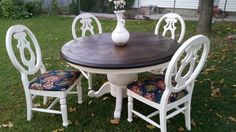 floral refinished dining table with 4 chairs