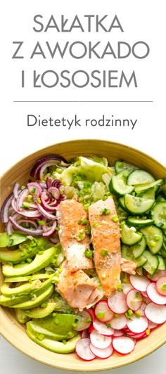 sałatka z awokado i łososiem Tuna, Pasta Salad, Green Beans, Fish, Dinner, Vegetables, Healthy, Ethnic Recipes, Diet