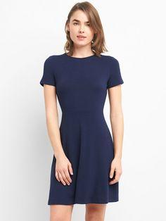 6136282d499c52 Gap Womens Softspun Fit And Flare Dress - True Black Xxl Regular Jumpsuit  Dress