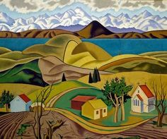 "Rita Angus (New Zealand, ""Central Otago"", 1940 Central Otago, New Zealand Art, Nz Art, Kiwiana, Naive Art, Landscape Paintings, Acrylic Paintings, Art Paintings, Female Art"