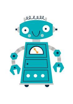 Childrens robot print set boys robot print set by BubbleGumYears