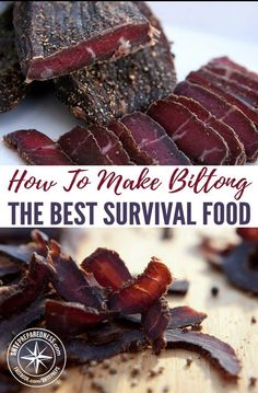 How To Make Bitlong - The Best Survival Food — Biltong has a shelf life of 2 to 4 years, so this is a smart way to stock your food stores. The recipe is simple, and you can use pretty much any meat. Everything you needed to know about survival Best Survival Food, Emergency Food, Survival Prepping, Survival Skills, Emergency Preparedness, Camping Survival, Survival Gear, Biltong, Dehydrated Food