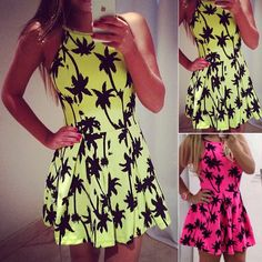 Sweet sleeveless print dress SF112907JL   Perf for going to a beach