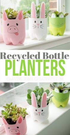 Soda Bottle Animal Planters – Soda Bottle Animal Planters -,Upcycling Bastelprojekte These recycled plastic bottle planters are so adorable and can be self watering planters . They are perfect for a cactus or succulent! Plastic Bottle Planter, Reuse Plastic Bottles, Plastic Bottle Crafts, Diy Bottle, Soda Bottle Crafts, Recycled Bottles, Recycled Planters, Milk Jug Crafts, Bottle Garden