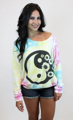 Vamped Boutique - Flower Child Sweatshirt | Vintage Havana, $58.00 (http://vampedboutique.com/flower-child-sweatshirt-vintage-havana/) #vintagehavana #yingyang #hippie #flowerchild #tyedye