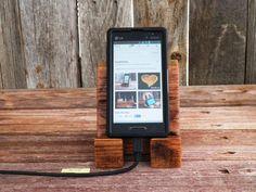iPhone Smart Phone Dock iPod iPad Mini Station Desk Night Stand Office Rustic Oak Wood Block Gift Idea No. 25 on Etsy, $20.00