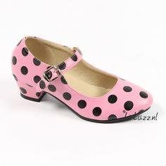Spaanse schoenen roze/zwart www.laluzz.nl