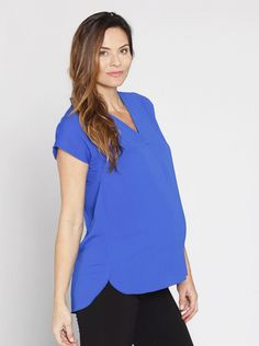 1d34c77045f7f Maternity Relax Fit Short Sleeve Work Blouse - Blue