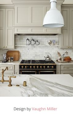 Tan kitchen cabinets with marble countertop Kitchen Redo, Home Decor Kitchen, Kitchen Interior, Home Kitchens, Kitchen Dining, Kitchen Remodel, Tan Kitchen Cabinets, Neutral Kitchen, Kitchen Pantry