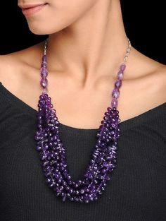 Amethyst Silver Necklace Amethyst Jewelry, Amethyst Necklace, Beaded Jewelry, Jewelry Necklaces, Pendant Necklace, Jewellery, Necklace Online, Pendants, Diamond
