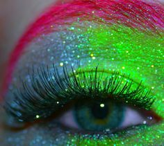 multi-colored glitter eyes!   Reminds me of Rhonda!