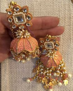 Fulfill a Wedding Tradition with Estate Bridal Jewelry Indian Jewelry Earrings, Jewelry Design Earrings, Indian Wedding Jewelry, Bridal Jewelry, Silver Jewelry, Silver Rings, Jhumki Earrings, Antique Earrings, Designer Earrings