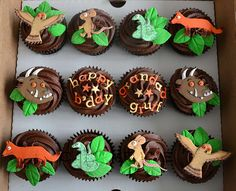 Gruffalo cupcake cuteness, plus flowers, stars and music note by Cakeybake 5th Birthday Boys, Second Birthday Ideas, First Birthday Parties, Birthday Party Themes, First Birthdays, Birthday Cakes, Gruffalo Party, Gateau Cake, Muffins