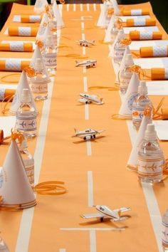 """like the """"airplane runway"""" table runner - also perfect for a farewell party..."""