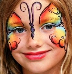 picture of face of rainbow butterfly