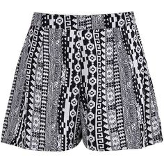 Boohoo Emelda Monochrome Aztec Print Woven Shorts (265 MXN) ❤ liked on Polyvore featuring shorts, mini shorts, hot short shorts, aztec sequin shorts, aztec print shorts and party shorts