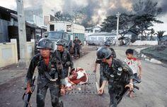 "historywars: "" AVRN Rangers transport a wounded civilian during the Tet Offensive "" Vietnam History, Vietnam War Photos, Brown Water Navy, Good Morning Vietnam, American War, American Soldiers, North Vietnam, Historical Images, Korean War"