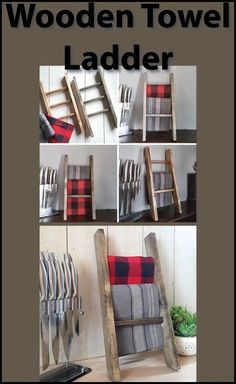 Perfect for Holding your Tea Towels in the Kitchen.  Wooden Kitchen Towel Ladder.  Kitchen Decor, Towel Holder, Towel Rack, Farmhouse Decor, Housewarming Gift.  Looks great on the counter by the kitchen or bathroom sink, in a coffee nook, or on a shelf. #farmhousedecor #affiliate