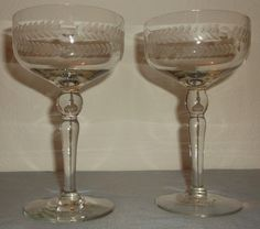Vintage Hand Blown Crystal Wine Glasses-Etched Laurel Leaf pattern & Dots - RARE