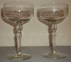 Vintage Hand Blown Crystal Wine Glasses-Etched Laurel Leaf pattern & Dots - RARE