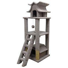 large cat climber wood cat house tree gray carpet - Cat Climber