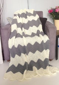 Cream and grey afghan crochet chevron blanket