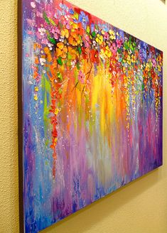 Symphony of flowers Flower Painting Canvas, Abstract Canvas Art, Diy Canvas Art, Oil Painting Abstract, Abstract Flowers, Tree Art, Drawings, Crafts, Inspiration