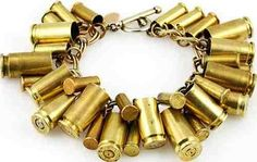 Recycled brass bullet casings are repurposed and suspended off a vintage brass chain creating this unique bracelet. Shop bracelets at AHAlife. Ammo Jewelry, Bullet Jewelry, Diy Jewelry, Jewelry Accessories, Jewelry Making, Jewelry Ideas, Jewlery, Recycled Jewelry, Shell Jewelry