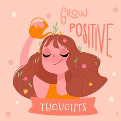 Grow positive thoughts self love lettering Vector Art And Illustration, Free Illustrations, Posca Art, Lettering, Grafik Design, Love Letters, Cute Quotes, Positive Thoughts, Positive Quotes