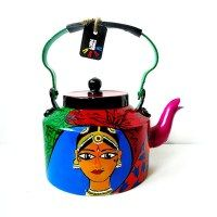 Indian Dancer Hand-painted Tea Kettle: Why did I pin this? Because I'm seriously thinking of hand painting a tea-kettle to go with my decor-- either black and white polkadots, checks or Tim Burton black and white striped.