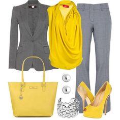 #12 Matching Grey Jacket and Pants + Yellow blouse + Yellow handbag + Yellow shoes