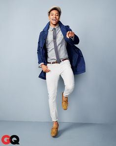 Trench coat, $39 by Joe Fresh. Tie bar, $15 by The Tie Bar. Watch, $35.92 by Timex. Moccasins, $34.95 by H Shirt, $24.99 by Converse One Star for Target. Cap, $35 by Stetson Cloth Hats & Caps. Jeans, $49.90 by Zara. Belt, $49 by Lands' End Canvas. $12.95 tie by H.