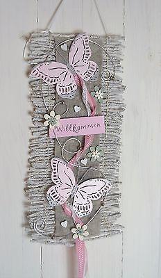 Türkranz  Türschmuck Türdeko  Rebenmatte grau/rosa, Willkommen Schmetterlinge