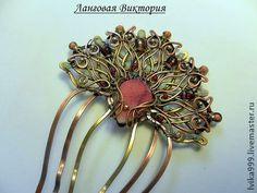"""Гребінь """"Арабська троянда"""". - фуксія,гребінь для волосся,шпилька для волосся"""