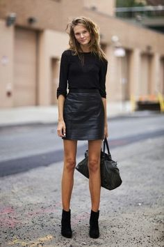 black leather mini, black sweater, black boots