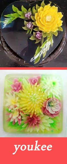 Food T, Food And Drink, 3d Jelly Cake, Jelly Flower, Jello Cake, Gelatine, Culinary Arts, Cake Art, Coconut Milk