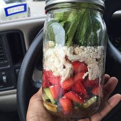Strawberry and Feta Salad: diced strawberries, crumbly feta cheese, baked chicken, cucumbers, and romaine lettuce