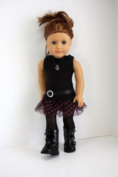 American Girl Doll ClothesBlack Tank Dress with by sewurbandesigns