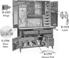 Hoosier Style Kitchen Cabinet With Steel Flour Bin Gl Sugar Jar And Br Latches Pulls