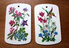 Set of 2 Vintage Floral Ricolor Cutting Board Hot Plate German