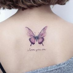 70 Awesome Back Tattoo Ideas - Tattoos - Purple Butterfly Tattoo, Butterfly Tattoo On Shoulder, Butterfly Tattoos For Women, Butterfly Tattoo Designs, Tattoo Designs For Women, Watercolor Butterfly Tattoo, Watercolor Tattoos, Mini Tattoos, Foot Tattoos