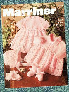 Marriner 1813 baby matinee coat dress and bonnet set vintage knitting pattern 18 - 19 inch chest size baby quickerknit knitting wool Baby Girl Patterns, Baby Knitting Patterns, Crochet Patterns, Sweater Patterns, Knitting Baby Girl, Baby Knits, Pink Prams, Coat Dress, Dress Set
