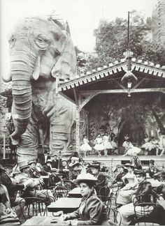 1899: The gardens of Moulin Rouge, a cabaret in Paris, featured a gigantic stucco elephant, into which men could climb for private shows in the creature's belly. No women were allowed for these shows, except for the entertainers