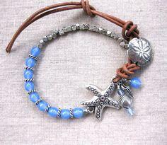 Starfish & Sand Dollar Denim Blue and Leather Coastal Charm Bracelet by SeaSide Strands