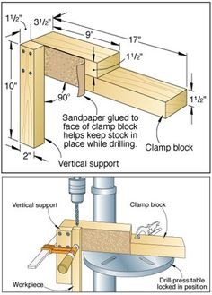 """Bore Vertical holes with scrap stock jig  """"Handy Woodworking Jig""""  Hope it helps you drill those holes in those dowels.. :)"""