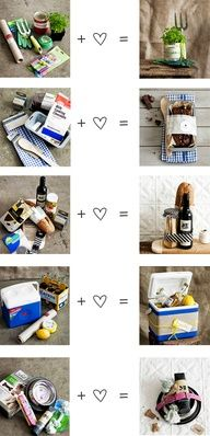 "14 DIY Christmas Gift Baskets | Picklee | I like how it does.. ""+ <3,"" so cute!!!"
